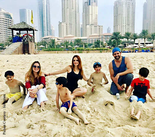 Hrithik Roshan & Sussanne Khan with Kids in Dubai 1